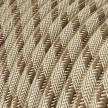 Fil Électrique Rond Gaine De Coton De Couleur Stripes Marron Écorce Et Lin Naturel RD53