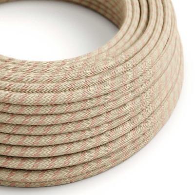Cavo Elettrico rotondo rivestito in Cotone Stripes color Rosa Antico e Lino Naturale RD51