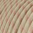 Elektrisches Kabel rund überzogen mit Baumwolle Streifen Farbe-Antikrosa und natürliches Leinen RD51