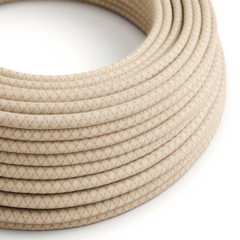 Elektrisches Kabel rund überzogen mit Baumwolle Raute Farbe-Antikrosa und natürliches Leinen RD61