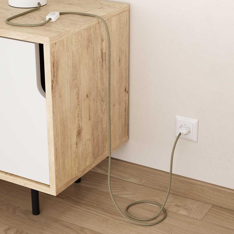 Elektrisches Kabel rund überzogen mit Baumwolle Raute Farbe-Thymian Grün und natürliches Leinen RD62