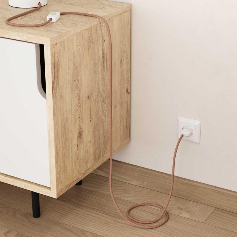 Elektrisches Kabel rund überzogen mit Baumwolle Zick-Zack Farbe-Antikrosa und natürliches Leinen RD71