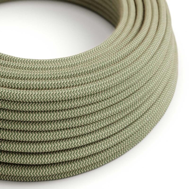 Elektrisches Kabel rund überzogen mit Baumwolle Zick-Zack Farbe-Thymian Grün und natürliches Leinen RD72