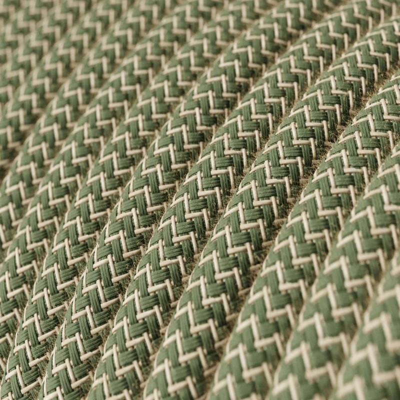 Fil Électrique Rond Gaine De Coton De Couleur ZigZag Vert Thym Et Lin Naturel RD72