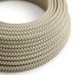 Elektrisches Kabel rund überzogen mit Baumwolle Raute Farbe-Anthrazit und natürliches Leinen RD64