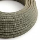 Elektrisches Kabel rund überzogen mit Baumwolle Zick-Zack Farbe-Anthrazit und natürliches Leinen RD74