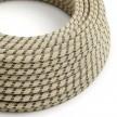 Cavo Elettrico rotondo rivestito in Cotone Stripes color Antracite e Lino Naturale RD54