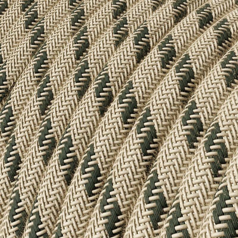 Fil Électrique Rond Gaine De Coton De Couleur Stripes Anthracite Et Lin Naturel RD54