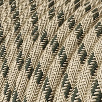 Elektrisches Kabel rund überzogen mit Baumwolle Streifen Farbe-Anthrazit und natürliches Leinen RD54