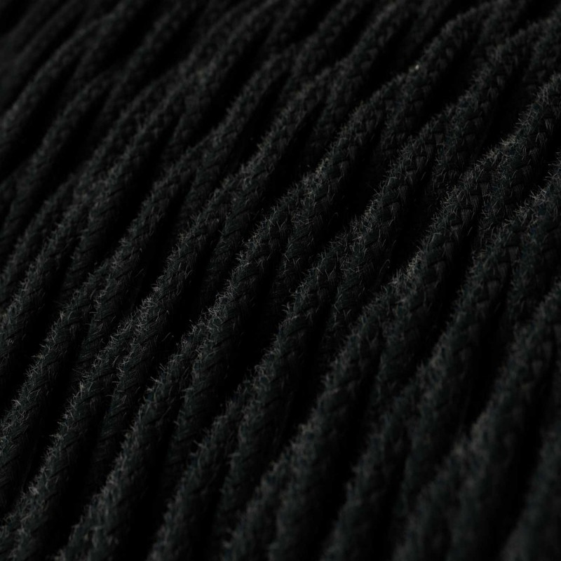 Elektrisches Kabel geflochten überzogen mit Baumwolle Einfarbig Schwarz TC04