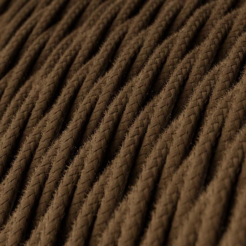 Elektrisches Kabel geflochten überzogen mit Baumwolle Einfarbig Braun TC13