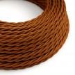 Elektrokabel geflochten überzogen mit Textil Seiden-Effekt Einfarbig Whiskey TM22