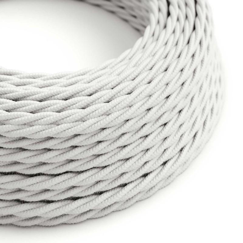 Fil Électrique Torsadé Gaine De Coton De Couleur Tissu Uni Blanc TC01
