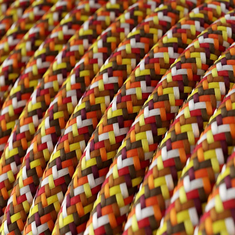 Cavo Elettrico rotondo rivestito in tessuto effetto Seta RX01 Pixel Arancione