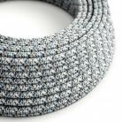 Elektrokabel rund Textil ummantelt Seideneffekt RX04 Pixel Eis
