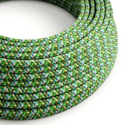 Elektrokabel rund Textil ummantelt Seideneffekt RX05 Pixel Grün