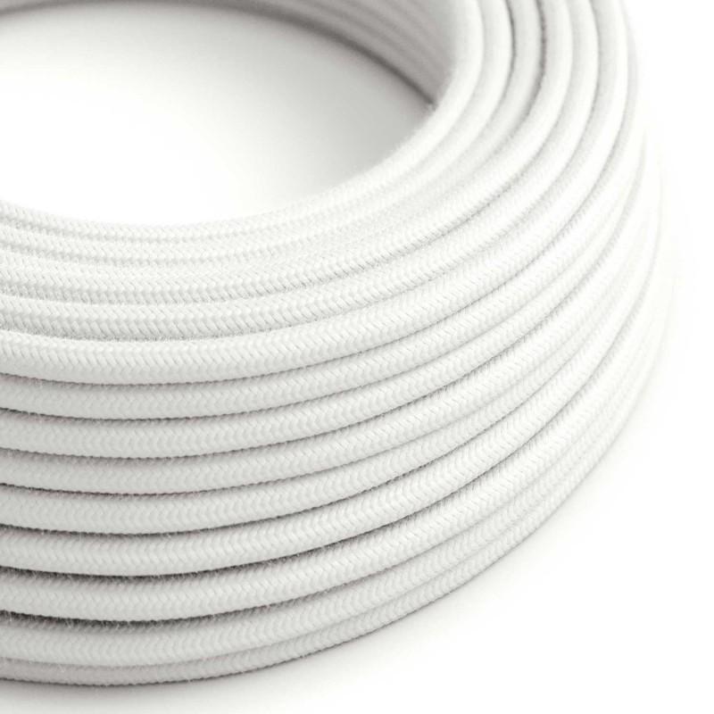 Cavo Elettrico rotondo rivestito in Cotone Tinta Unita Bianco RC01