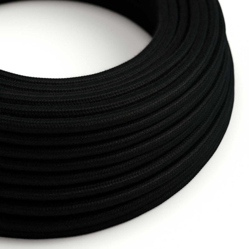 Elektrisches Kabel rund überzogen mit Baumwolle Einfarbig Schwarz RC04
