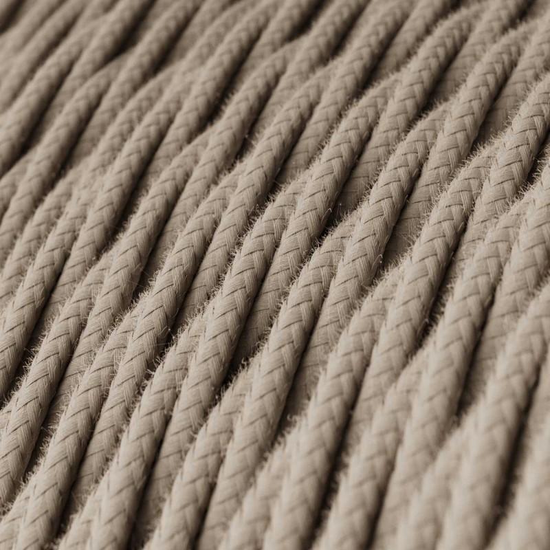 Fil Électrique Torsadé Gaine De Tissu De Couleur Coton Tissu Uni Tourterelle TC43
