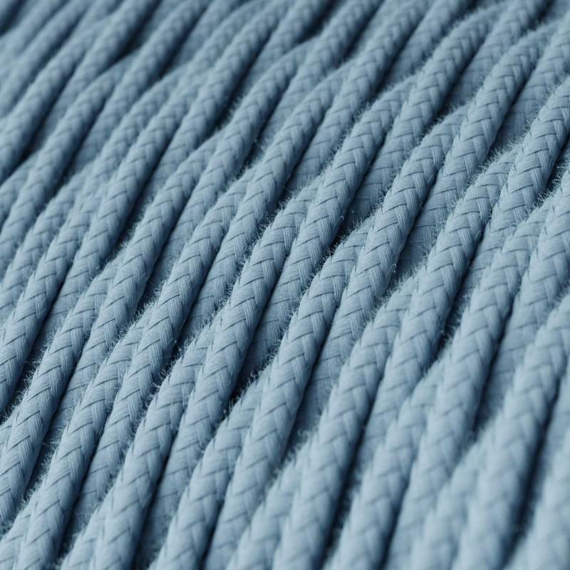 Fil Électrique Torsadé Gaine De Tissu De Couleur Coton Tissu Uni Océan TC53