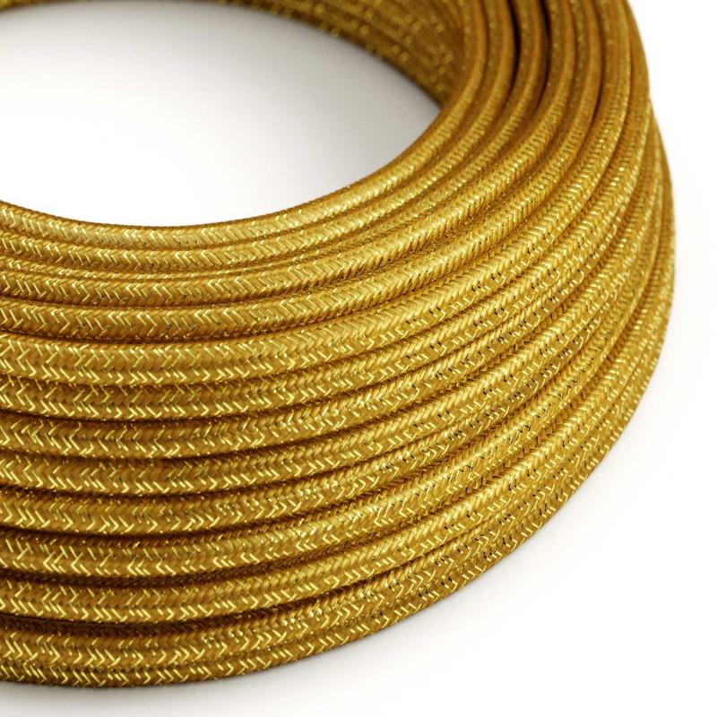 Elektrisches Kabel rund überzogen mit Textil-Seideneffekt Einfarbig Gold geglittert RL05