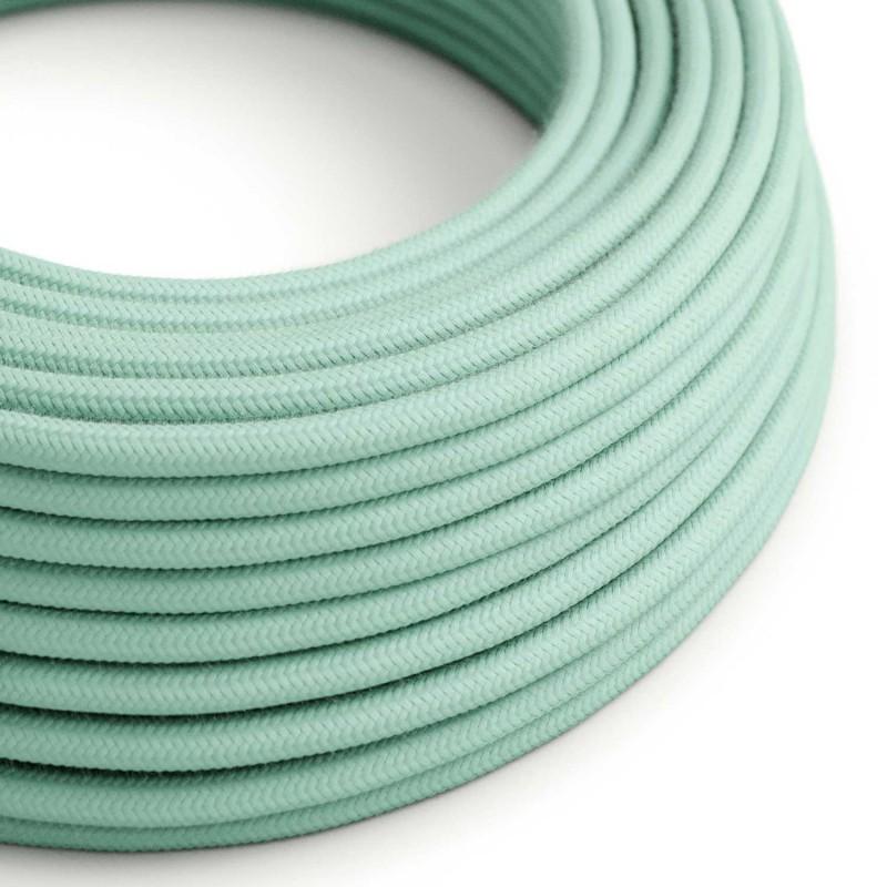 Elektrisches Kabel rund überzogen mit Baumwolle Einfarbig Minze RC34