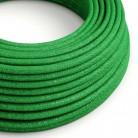 Elektrisches Kabel rund überzogen mit Textil-Seideneffekt Einfarbig Grün Geglittert RL06