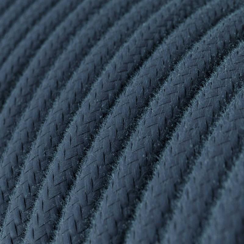 Fil Électrique Rond Gaine De Tissu De Couleur Coton Tissu Uni Gris Pierre RC30