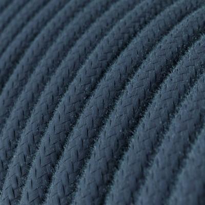 Elektrisches Kabel rund überzogen mit Baumwolle Einfarbig Steingrau RC30