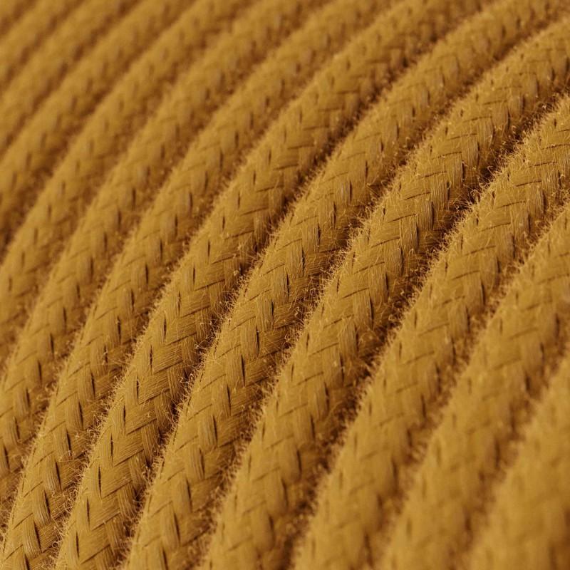 Fil Électrique Rond Gaine De Tissu De Couleur Coton Tissu Uni Miel Doré RC31