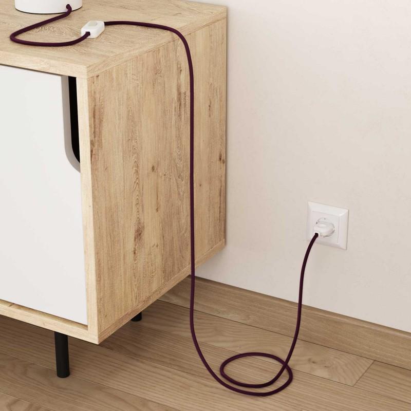 Elektrisches Kabel rund überzogen mit Baumwolle Einfarbig Burgund RC32