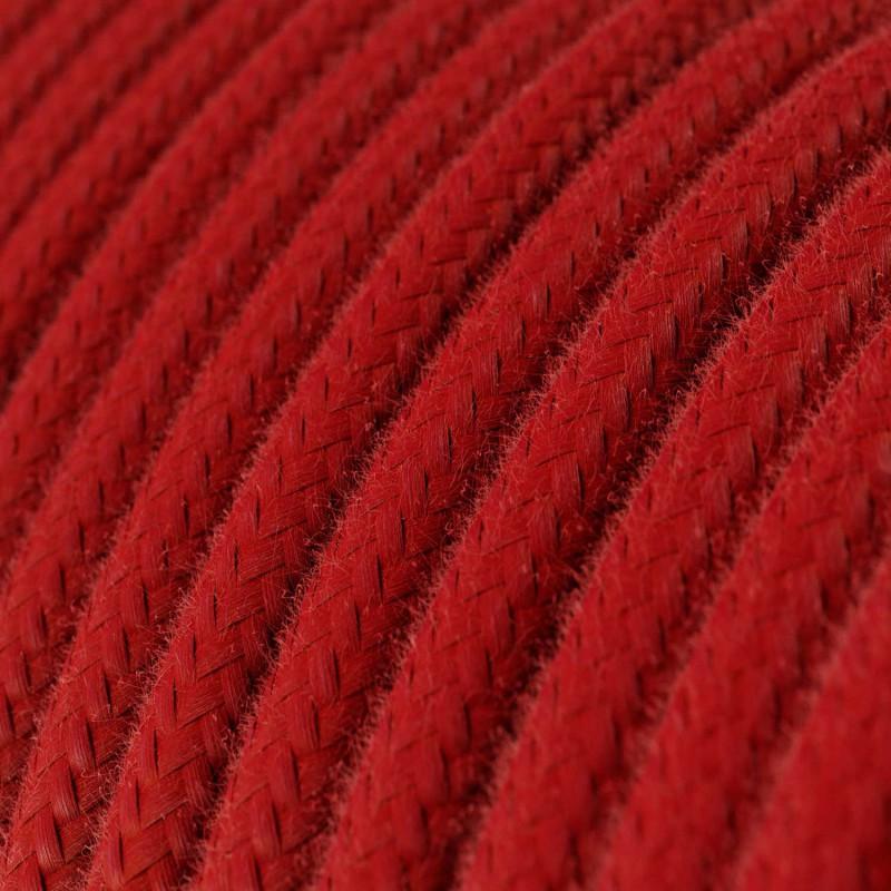Fil Électrique Rond Gaine De Tissu De Couleur Coton Tissu Uni Rouge Feu RC35