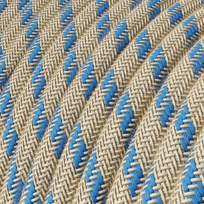 Elektrisches Kabel rund überzogen mit Baumwolle Streifen Farbe-Blau und natürliches Leinen RD55