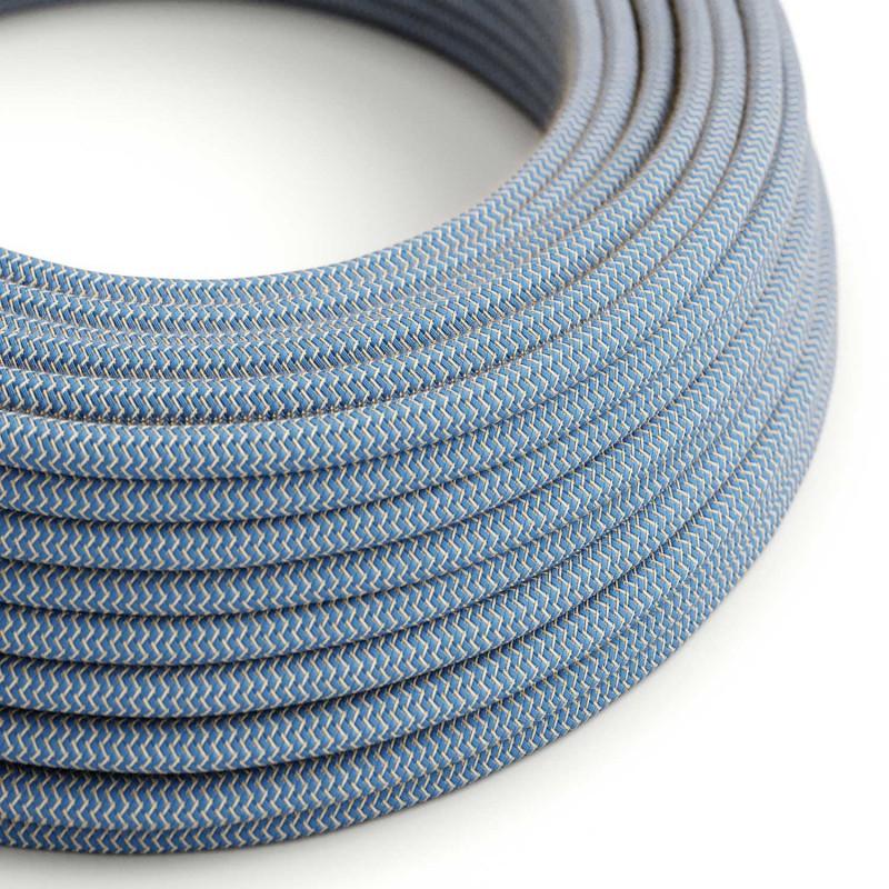 Fil Électrique Rond Gaine De Tissu De Couleur Coton ZigZag Bleu Steward et lin Naturel RD75