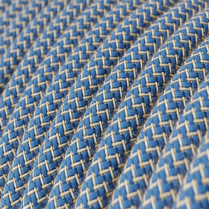 Elektrisches Kabel rund überzogen mit Baumwolle Zick-Zack Farbe-Blauer und natürliches Leinen RD75