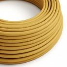 Elektrisches Kabel rund überzogen mit Textil-Seideneffekt Einfarbig Senf RM25