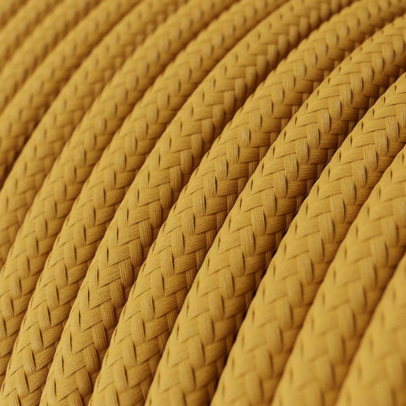 Fil Électrique Rond Gaine De Tissu De Couleur Effet Soie Tissu Uni Moutarde RM25