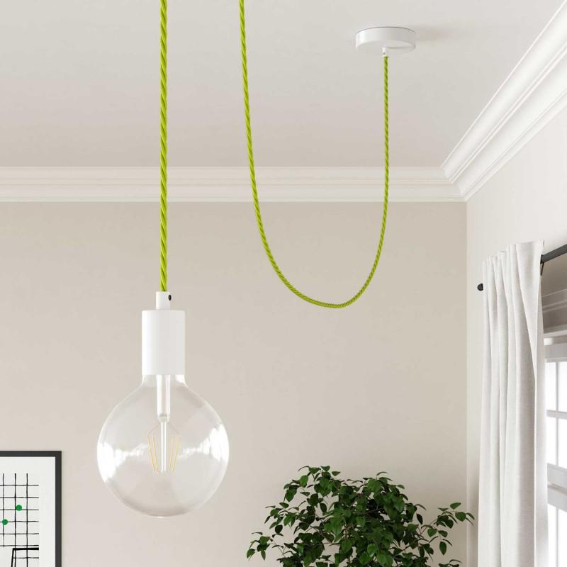 Elektrisches Kabel geflochten überzogen mit Textil-Seideneffekt Einfarbig Gelb Fluo TF10