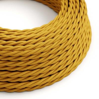 Elektrisches Kabel geflochten überzogen mit Textil-Seideneffekt Einfarbig Senf TM25