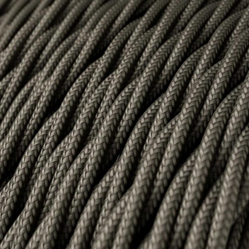 Elektrisches Kabel geflochten überzogen mit Textil-Seideneffekt Einfarbig Dunkelgrau TM26