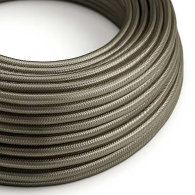 Elektrisches Kabel rund überzogen mit Textil-Seideneffekt Einfarbig Dunkelgrau RM26