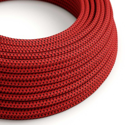 Elektrisches Kabel rund überzogen mit Textil-Seideneffekt 3D Red Devil RT94