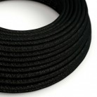 Elektrisches Kabel rund überzogen mit Textil-Seideneffekt Einfarbig Schwarz geglittert RL04