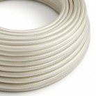 Elektrisches Kabel rund überzogen mit Textil-Seideneffekt Einfarbig Elfenbein RM00