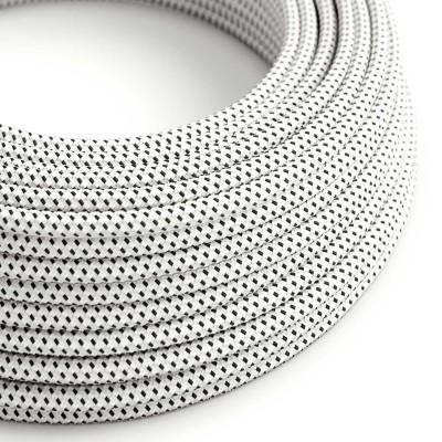 Elektrisches Kabel rund überzogen mit Textil-Seideneffekt 3D Weiß-Schwarz RT14