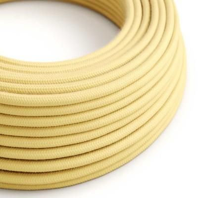 Elektrisches Kabel rund überzogen mit Baumwolle Pastell Gelb RC10