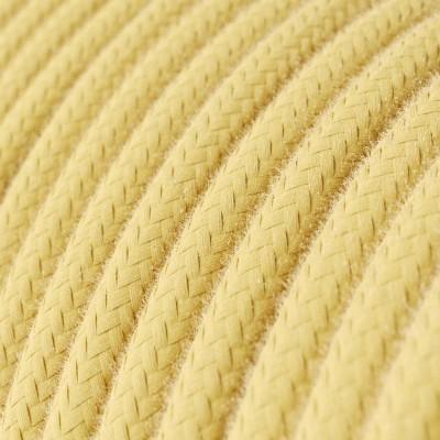 Cavo Elettrico rotondo rivestito in Cotone Tinta Unita Giallo Pastello RC10
