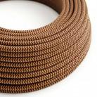 Elektrisches Kabel rund überzogen mit Textil-Seideneffekt Zick-Zack gold/bordeaux RZ23