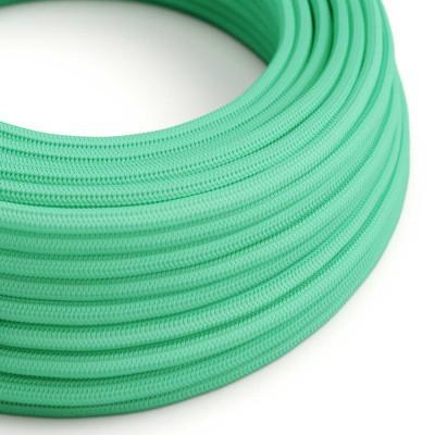 Elektrisches Kabel rund überzogen mit Textil-Seideneffekt Einfarbig Opalgrün RH69