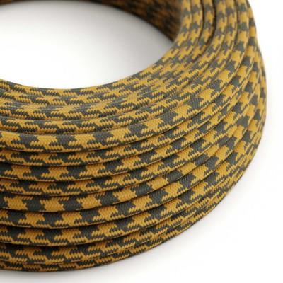 Elektrisches Kabel rund überzogen mit Baumwolle Bifarbig Goldener Honig und Anthrazit RP27